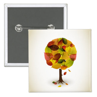 Awesome abstract tree leaf colors 15 cm square badge