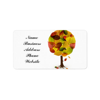 Awesome abstract tree leaf colors address label