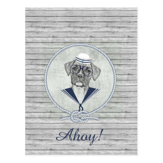 Awesome  adorable funny sailor ahoy boxer dog postcard