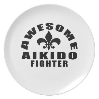 AWESOME AIKIDO FIGHTER DINNER PLATE