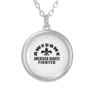 AWESOME AMERICAN KARATE FIGHTER SILVER PLATED NECKLACE