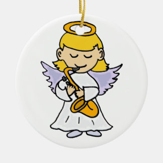 Awesome Angel Playing the Saxophone Art Ceramic Ornament