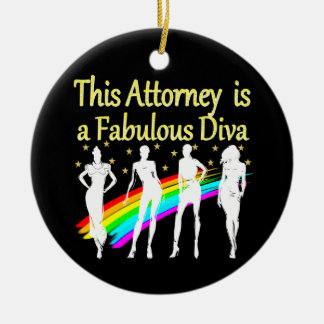 AWESOME ATTORNEY PARTY GIRL DESIGN ROUND CERAMIC DECORATION
