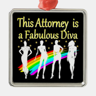 AWESOME ATTORNEY PARTY GIRL DESIGN Silver-Colored SQUARE DECORATION