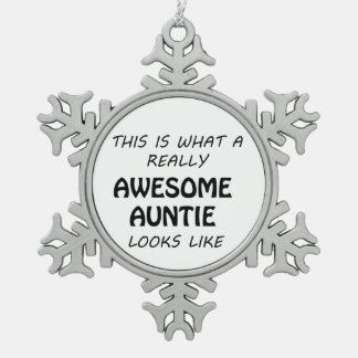 Awesome Auntie Snowflake Pewter Christmas Ornament