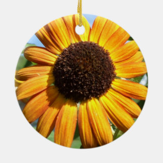 Awesome Autumn Beauty Sunflower in the Round Round Ceramic Decoration