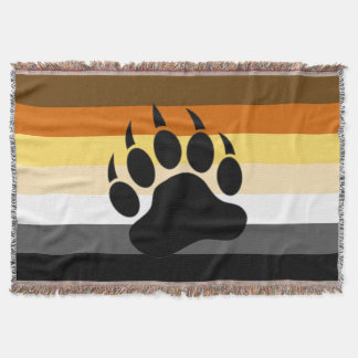 Awesome Bear Paw on Bear Pride Flag Throw Blanket