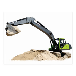 Awesome Big Green Construction Excavator #4 Postcard