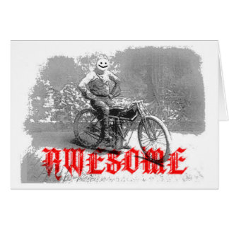 Awesome biker smile face card