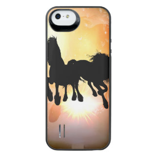 Awesome black horses with butterflys iPhone SE/5/5s battery case