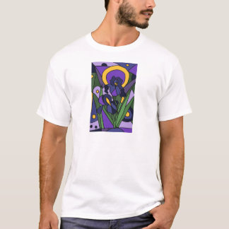 Awesome Blue Iris Floral Abstract Art T-Shirt