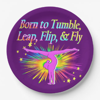 AWESOME BORN TO TUMBLE GYMNAST PAPER PLATES