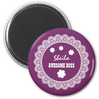 Awesome BOSS Vintage Lace and Flowers V04B 6 Cm Round Magnet