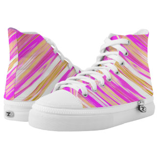 Awesome Bright Pink Diagonal Design High Tops