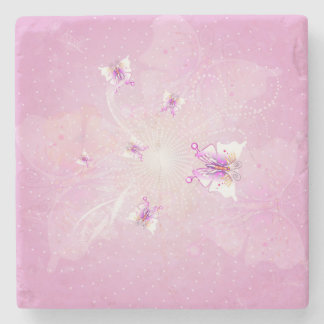 Awesome butterflys on soft purple background stone coaster
