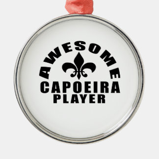AWESOME CAPOEIRA PLAYER Silver-Colored ROUND DECORATION