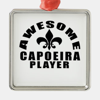 AWESOME CAPOEIRA PLAYER Silver-Colored SQUARE DECORATION