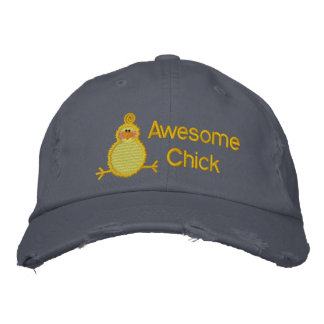 Awesome Chick Hat Embroidered Baseball Caps