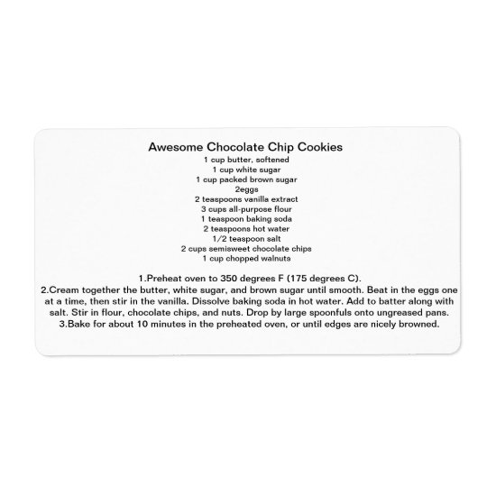 Awesome Chocolate Chip Cookie REcipe Shipping Label