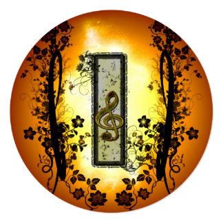 Awesome clef with key notes on a frame 13 cm x 13 cm square invitation card