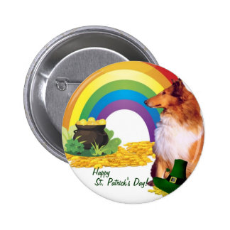 Awesome Collie St. Patrick's Day Wishes 6 Cm Round Badge