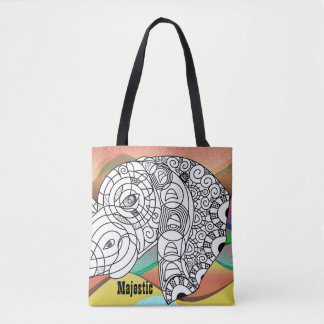 Awesome Color On Majestic Elephant Tote Bag