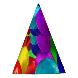 awesome colored party balloons party hat