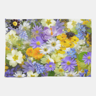 Awesome Colorful Garden Flowers Design Tea Towel