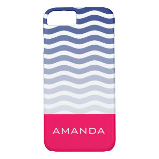 Awesome Cool Blue waves and Pink Vibes Monogram iPhone 8/7 Case
