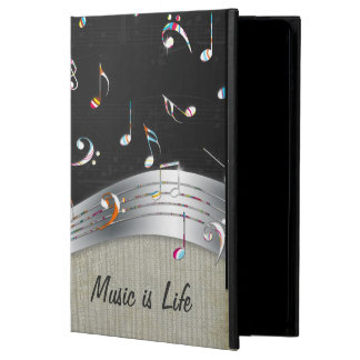 """Awesome cool """"Music is Life"""" colourful music notes iPad Air Covers"""