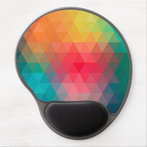 Awesome cool trendy colourful triangles pattern gel mouse mat