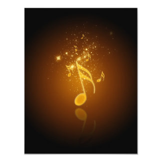 Awesome cool trendy glowing semiquavers music note 11 cm x 14 cm invitation card