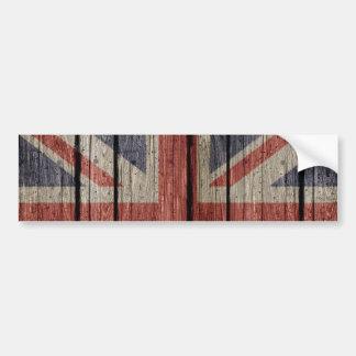 Awesome cool trendy old wood grunge U.k. flag Bumper Sticker