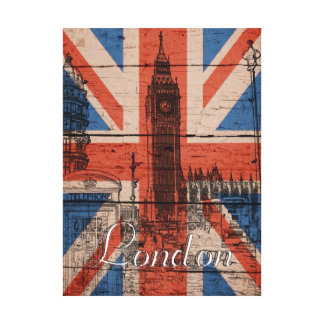 Awesome cool trendy old wood grunge U.k. Flag Gallery Wrap Canvas