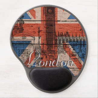 Awesome cool trendy old wood grunge U.k. Flag Gel Mousepads