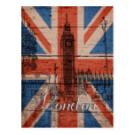 Awesome cool trendy old wood grunge U.k. flag Post Cards