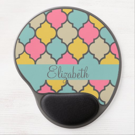 awesome cute trendy Quatrefoil colourful pattern Gel Mousepad