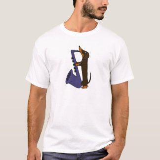 Awesome Dachshund Dog Playing Saxophone T-Shirt
