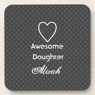Awesome Daughter Black and Silver Polka Dots Drink Coasters
