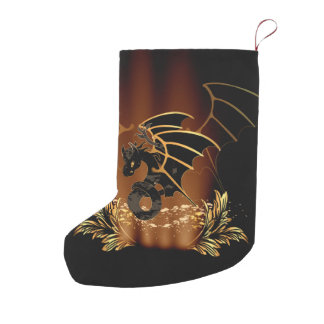 Awesome dragon in gold and black small christmas stocking