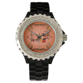 Awesome eiffeltower with roses wrist watches