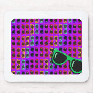 Awesome Eighties Sunglasses on Purple Mouse Pad