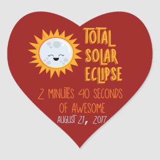 Awesome Emoji Total Solar Eclipse Heart Sticker