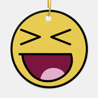awesome face laugh christmas tree ornament