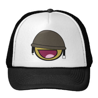 Awesome Face Smiley Soldier With Helmet Hat
