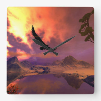 Awesome fantasy landscape with flying eagle square wall clock