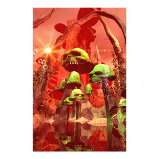 Awesome fantasy world with skull mushrooms personalized stationery