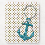 Awesome faux glitter peacock blue nautical anchor