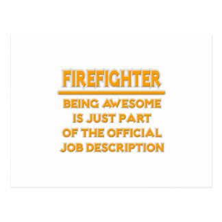 Awesome Firefighter .. Official Job Description Postcard