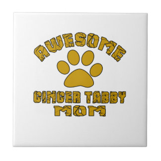 AWESOME GINGER TABBY MOM SMALL SQUARE TILE
